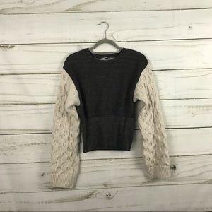 Zara Basic Gray Cream White Puffy Sleeved Sweater